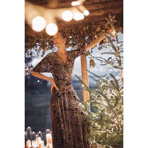 Anthropologie Floral Velvet Woodlands Maxi Dress